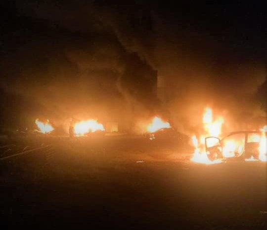 Vehicles torched near the temple